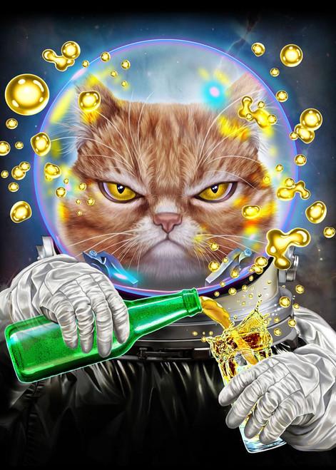 5D Diamond Painting Angry Astronaut Cat Kit