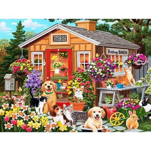 5D Diamond Painting Puppies and Kittens Potting Shed Kit