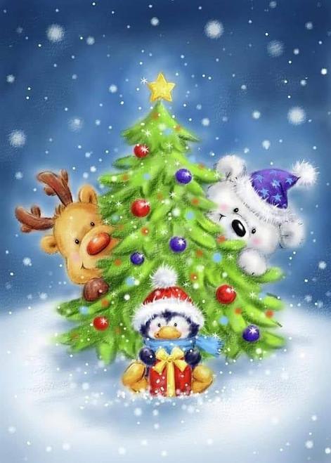 5D Diamond Painting Peek a Boo Christmas Tree Kit