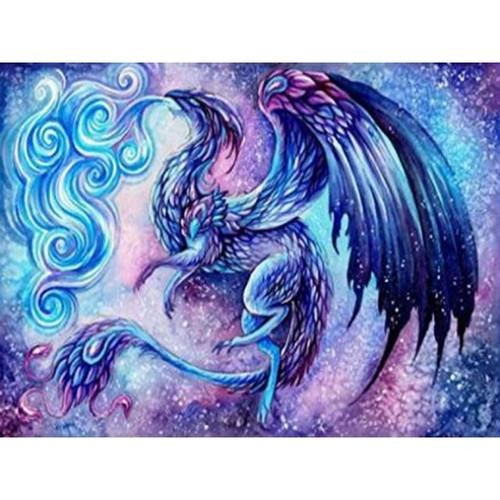 5D Diamond Painting Blue Smoke Dragon Kit