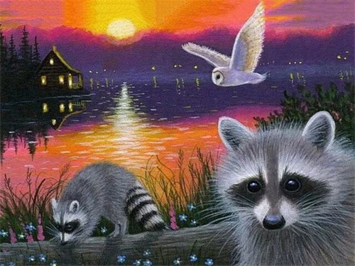 5D Diamond Painting Raccoons by the Lake Kit
