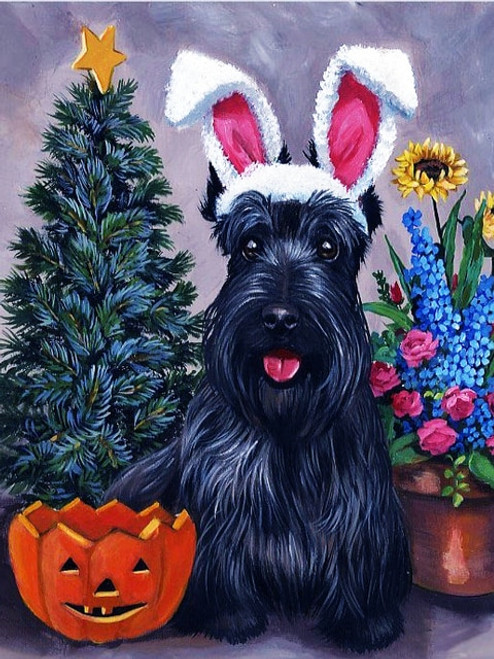 5D Diamond Painting Christmas Halloween and Easter Puppy Kit