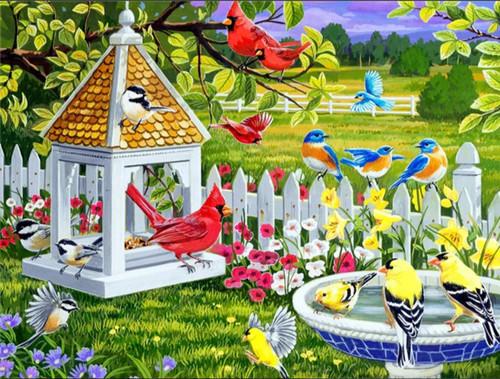 5D Diamond Painting Birds by the Fountain Kit