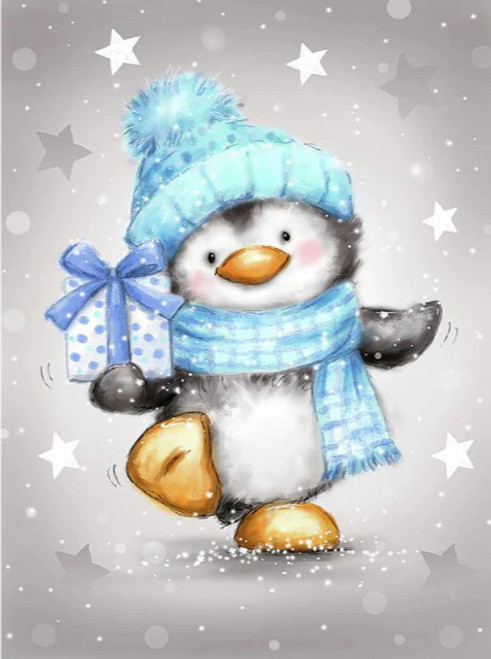 5D Diamond Painting Blue Hat and Scarf Penguin Kit