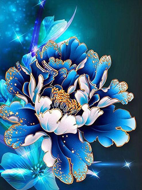 5D Diamond Painting Blue Peony Kit