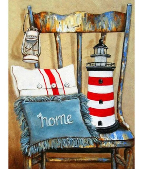 5D Diamond Painting Pillows and Lighthouse Chair Kit