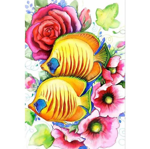 5D Diamond Painting Yellow Tropical Fish and Flowers Kit