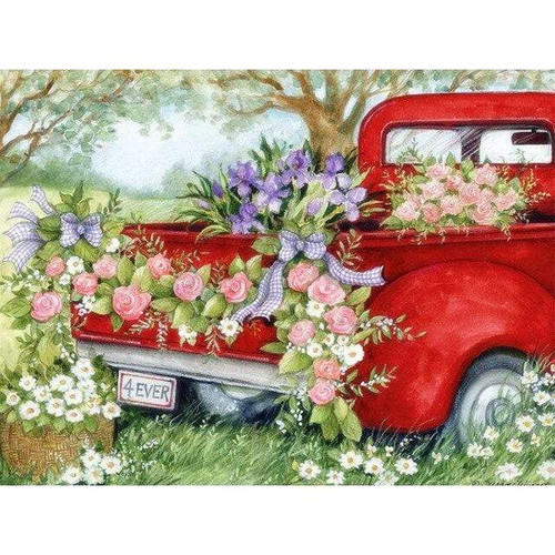 5D Diamond Painting Pink Roses on a Red Truck Kit
