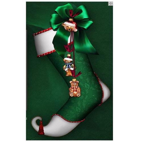 5D Diamond Painting Green and White Christmas Stocking Kit
