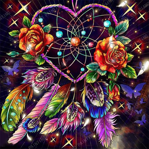 5D Diamond Painting Heart and Rose Dream Catcher Kit