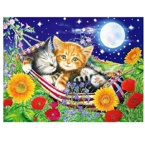 5D Diamond Painting Two Kittens in a Hammock Kit
