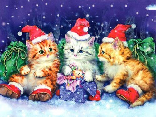 5D Diamond Painting Three Santa Hat Kittens Kit