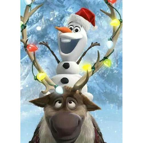 5D Diamond Painting Olaf and Sven Christmas Lights Kit
