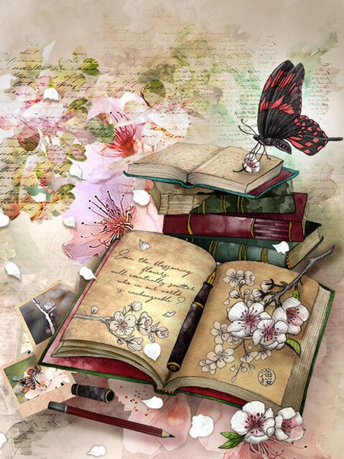 5D Diamond Painting Butterfly, Blossoms and Books Kit