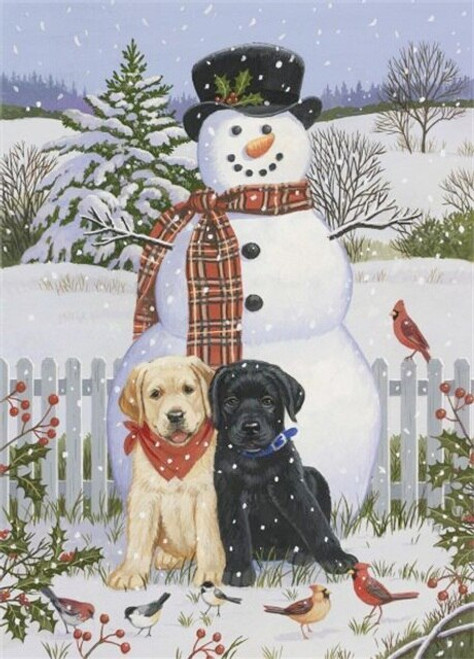 5D Diamond Painting Two Lab Puppies and a Snowman Kit