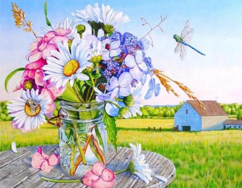 5D Diamond Painting Jar of Flowers Kit