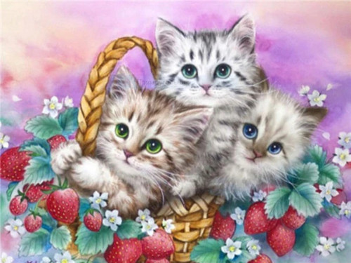 5D Diamond Painting Three Kittens in a Strawberry Basket Kit