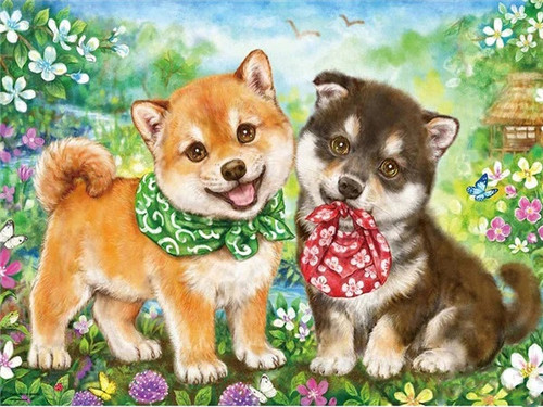 5D Diamond Painting Two Puppies with Bandanas Kit
