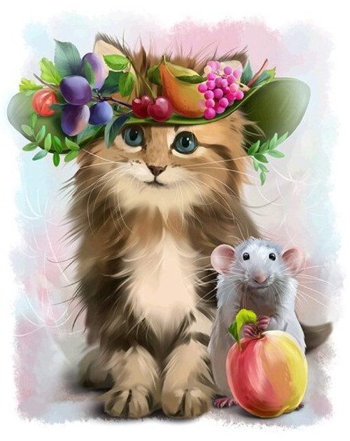 5D Diamond Painting Fruit Hat Cat and Mouse Kit