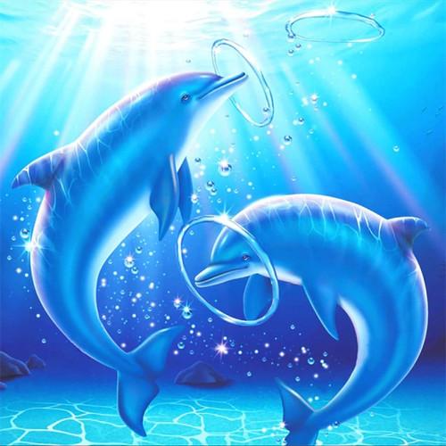 5D Diamond Painting Dolphin Bubble Hoops Kit