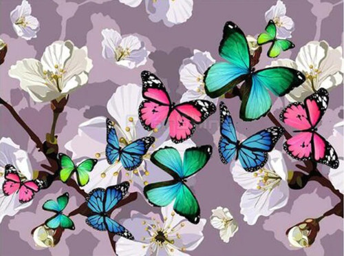 5D Diamond Painting Butterflies and White Blossoms Kit