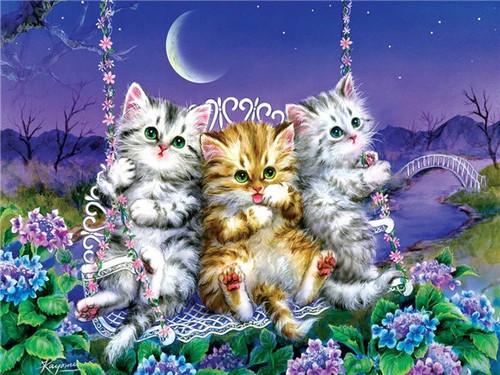 5D Diamond Painting Three Kittens in a Swing Kit