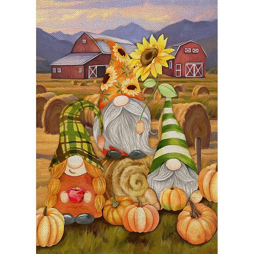 5D Diamond Painting Three Gnome Pumpkin Farm Kit
