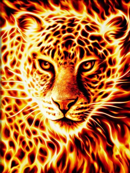 5D Diamond Painting Fire Leopard Kit