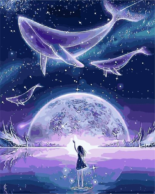 5D Diamond Painting Whales above the Moon Kit