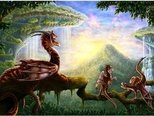 5D Diamond Painting Dragons in a Tree Kit