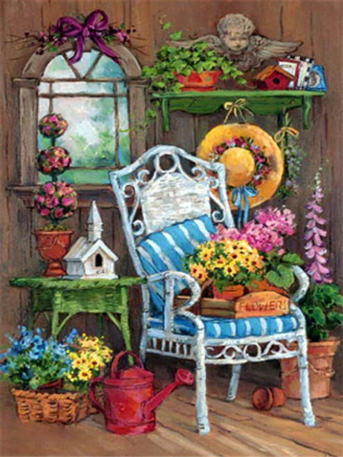 5D Diamond Painting Blue Striped Chair and Flowers Kit
