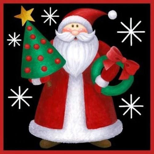 5D Diamond Painting Santa Christmas Tree and Wreath Kit