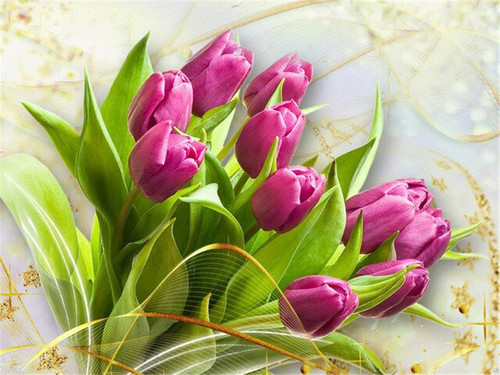 5D Diamond Painting Purple Tulips with Green Leaves Kit