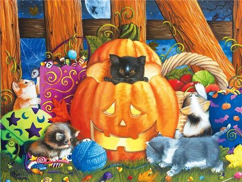 5D Diamond Painting Kittens Playing by the Jackolantern Kit