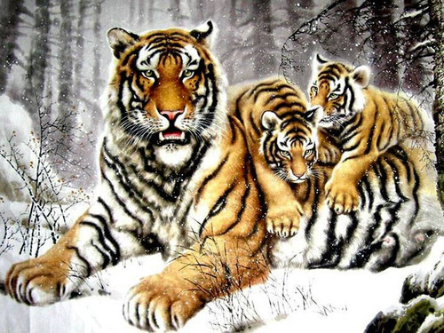 5D Diamond Painting Tiger and Cubs in the Snow Kit