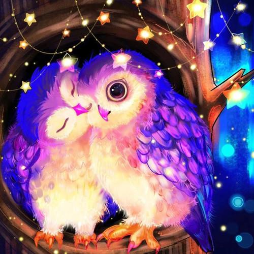 5D Diamond Painting Two Purple Owls Kit