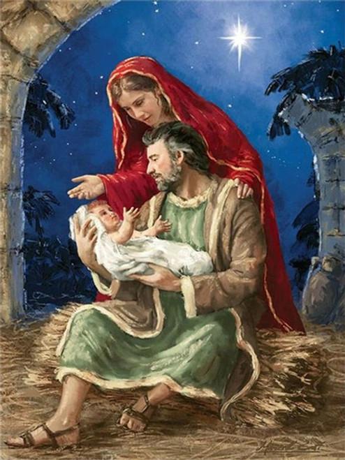 5D Diamond Painting Mary, Joseph and Baby Jesus Under the Star Kit