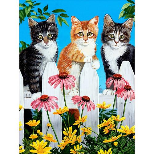 5D Diamond Painting Kittens on the Fence Kit