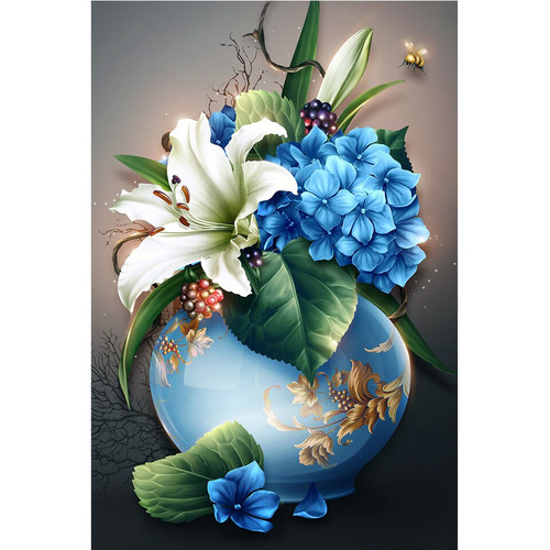 5D Diamond Painting Blue Vase of Lily and Hydrangeas Kit