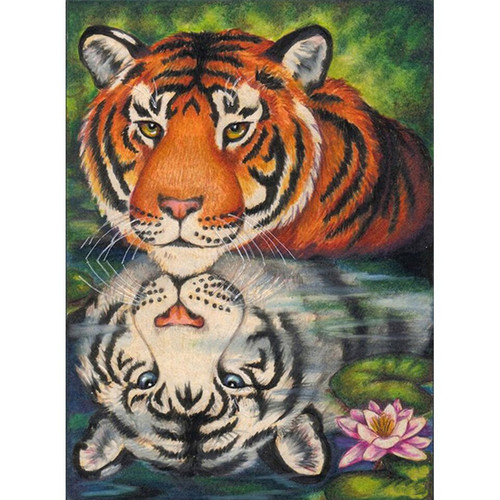 5D Diamond Painting Orange and White Tiger Reflection Kit