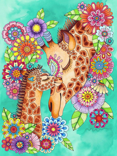5D Diamond Painting Abstract Giraffes in Flowers Kit