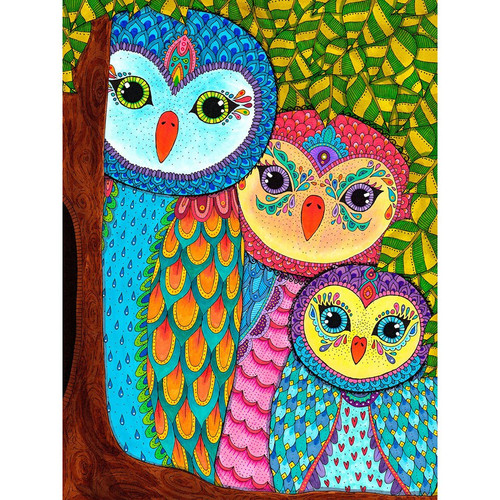 5D Diamond Painting Three Abstract Owls Kit