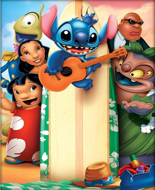 5D Diamond Painting Lilo and Stitch Surfboard Kit
