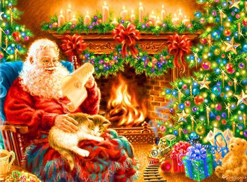 5D Diamond Painting Santa Reading his List Kit