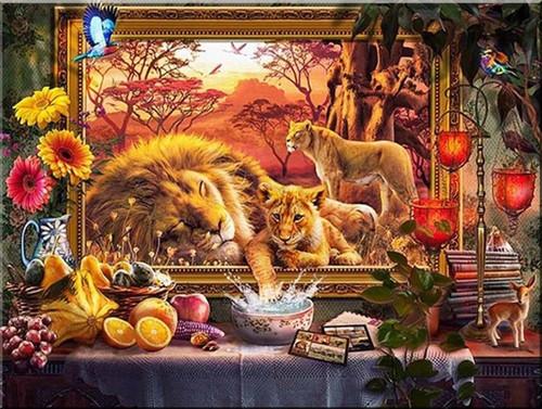 5D Diamond Painting Framed Lions Kit