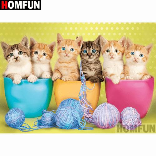 5D Diamond Painting Six Kittens and Yarn Kit