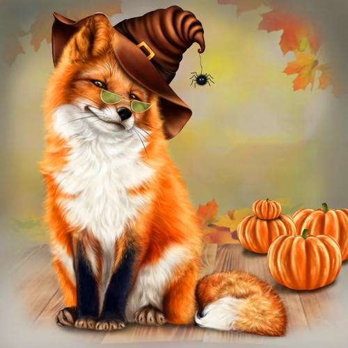 5D Diamond Painting Halloween Fox Kit