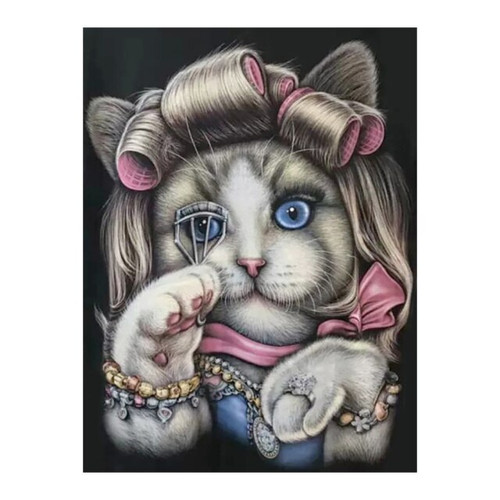 5D Diamond Painting Cat Curlers and Makeup Kit