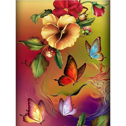 5D Diamond Painting Red and Yellow Flower Butterflies Kit