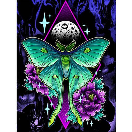 5D Diamond Painting Abstract Green Butterfly Kit